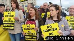 Protester framför Stormont-parlamentet på Nordirland för två år sedan. Gränsfrågorna är fortfarande hett omtvistade.