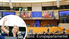På bild till vänster syns Jytte Guteland (S) under en votering som ägde rum innan coronakrisen. Under fredagens omröstning lade Socialdemokraterna ner sina röster.