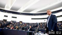 EU-kommissionens ordförande Jean-Claude Juncker under onsdagens linjetal.