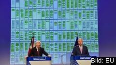 EU:s och Storbritanniens chefsförhandlare, Michel Barnier och David Davis, framför de 129 färgkodade sidorna i utträdesavtalet.