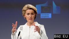 EU-kommissionens ordförande Ursula von der Leyen vid onsdagen presskonferens. Arkivbild.