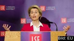 EU-kommissionens ordförande Ursula von der Leyen under onsdagens tal vid LSE i London.