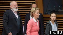 EU:s klimatkommissionär Frans Timmermans, EU-kommissionens ordförande Ursula von der Leyen och klimataktivist Greta Thunberg på onsdagens kommissionärsmöte i Bryssel.
