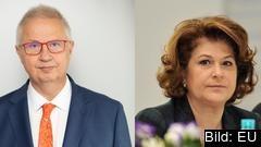 Ungerns EU-kommissionärskandidat László Trócsányi och Rumäniens dito Rovana Plumb.