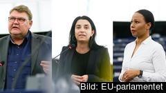 EU-parlamentarikerna Peter Lundgren (SD), Evin Incir (S) och Alice Bah Kuhnke (MP) deltog i onsdagens debatt inför torsdagens omröstning.